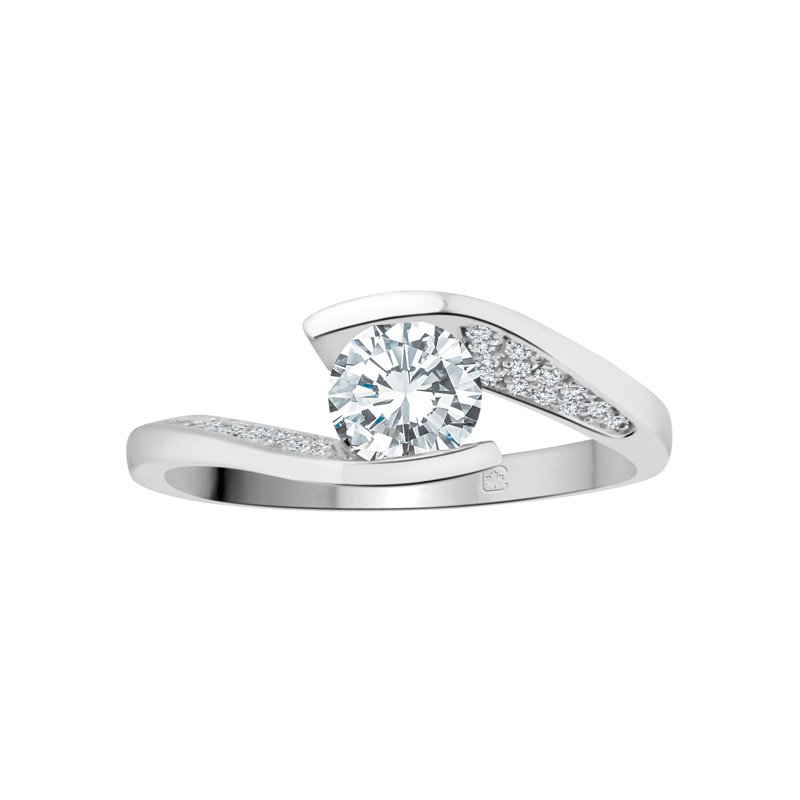 Corona Canadian Diamond Side-Stone Solitaire Engagement Ring
