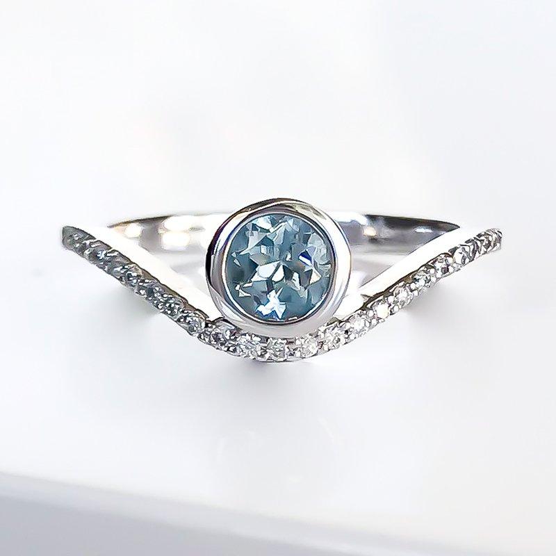 HJ Gemstone Collection Bezel Set Aquamarine & Diamond Ring