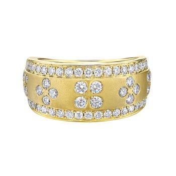 Brushed Yellow Gold Diamond Ring