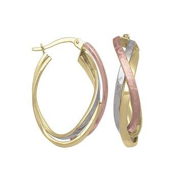 Gold Tri-Tone Oval Hoop Earrings