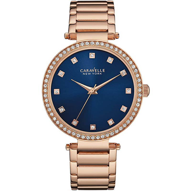 Caravelle Rose Gold Crystal Watch