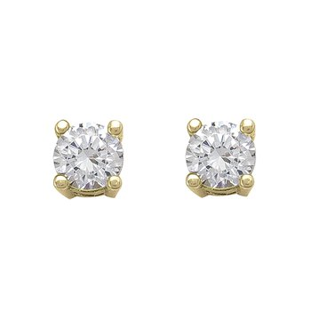 Yellow Gold Cubic Zirconia Studs (4mm)