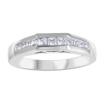 Princess Cut Side-Stone Solitaire Engagement Ring