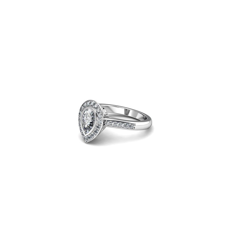T & T Jewellers Pear Shaped Halo Engagement Ring
