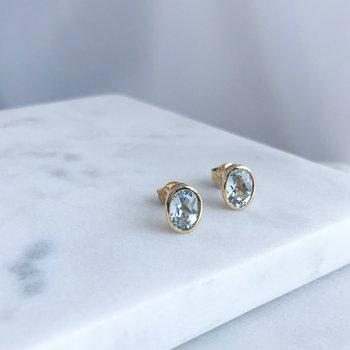 Yellow Gold Aquamarine Stud Earrings