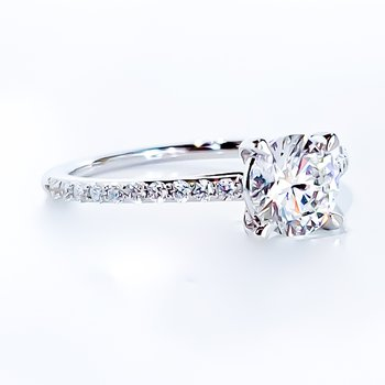1.20CT TW Round Brilliant Lab Grown Diamond Side-Stone Solitaire Engagement Ring