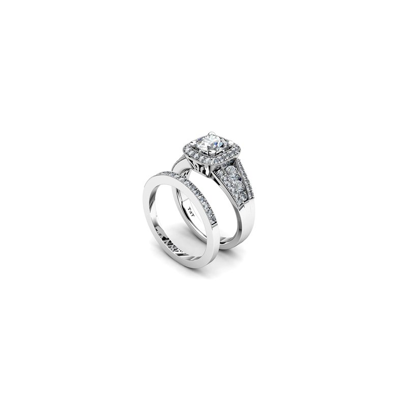 T & T Jewellers Halo Engagement Ring