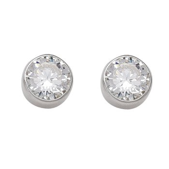 White Gold Cubic Zirconia Studs (6mm)