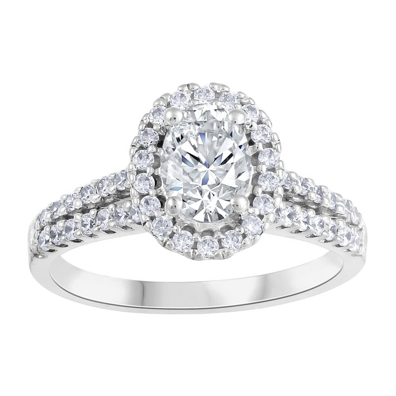 Fire and Ice Oval Halo Engagement Ring