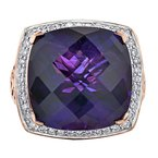 Corona Amethyst & Diamond Ring