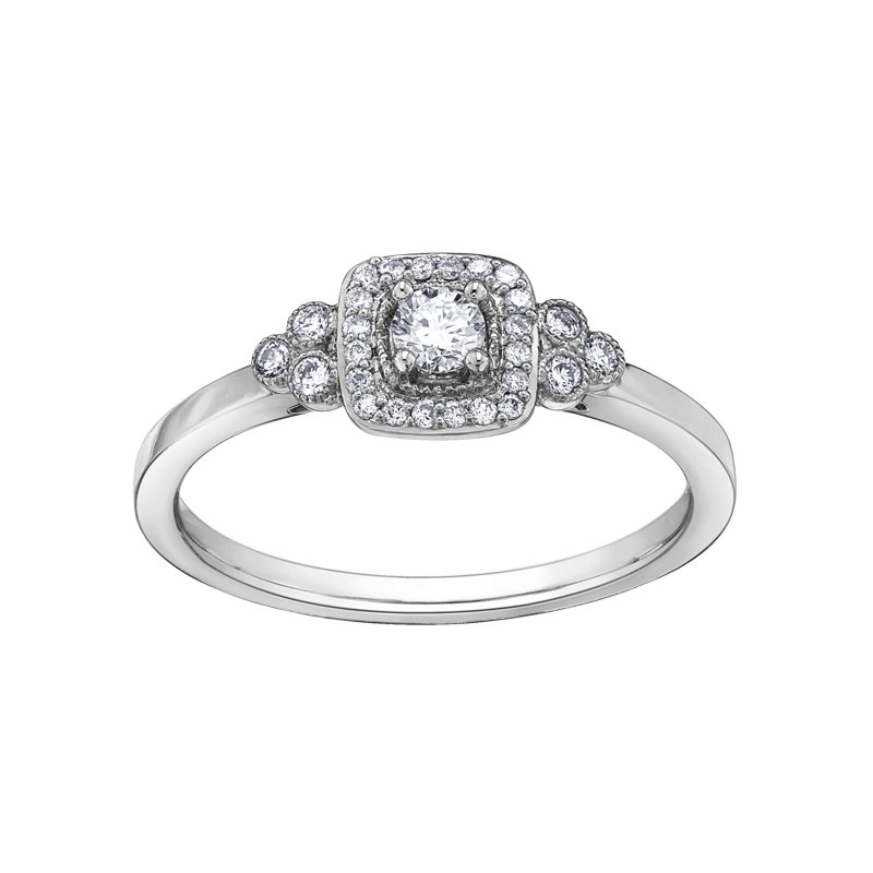 Corona Canadian Diamond Halo Engagement Ring