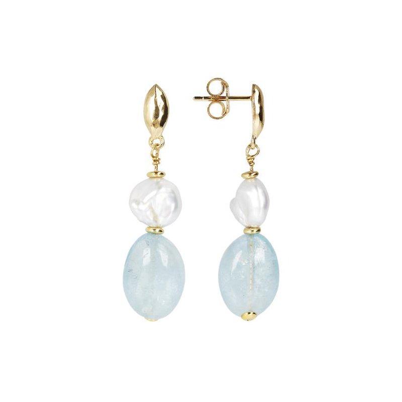 Etrusca Gioielli Pearl & Quartz Drop Earrings