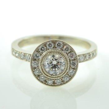 0.40CT Vintage Inspired Bezel Set Side-Stone Canadian Halo Engagement Ring
