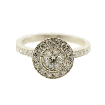 0.40CT Vintage Inspired Bezel Set Side-Stone Canadian Halo Engagement Ring