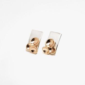 Two-Tone Champagne Stud Earrings