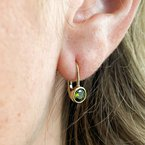 HJ Gemstone Collection Synthetic Peridot Yellow Gold Earrings