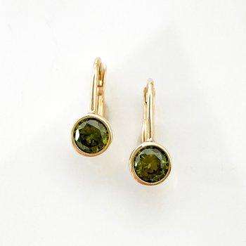 Synthetic Peridot Yellow Gold Earrings