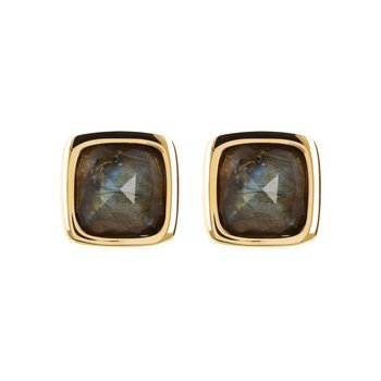 Labradorite Button Stud Earrings