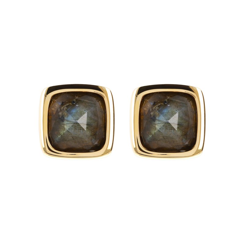 Etrusca Gioielli Labradorite Button Stud Earrings