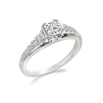 0.58CT Side-Stone Canadian Solitaire Engagement Ring