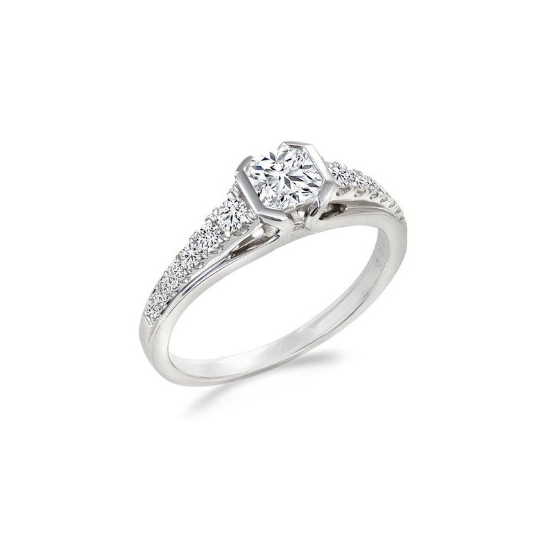 HJ Diamond Collection 0.58CT Side-Stone Canadian Solitaire Engagement Ring