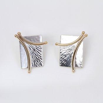 Two-Tone Branch Stud Earrings