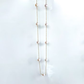 Yellow Gold Pearl Station Necklace