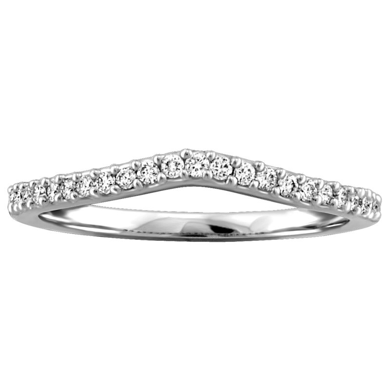 Fire and Ice Curved Diamond Wedding Band