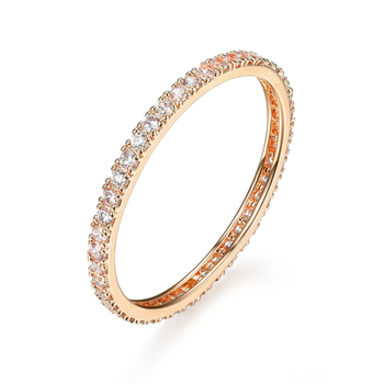 Rose Gold Plated Cubic Zirconia Eternity Ring