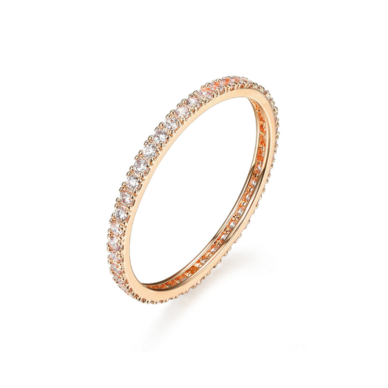 Reign Rose Gold Plated Cubic Zirconia Eternity Ring