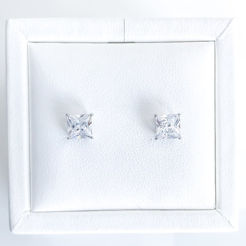 925 Solutions Square Cubic Zirconia Stud Earrings (3mm - 6mm)
