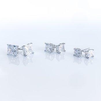 Square Cubic Zirconia Stud Earrings (3mm - 6mm)