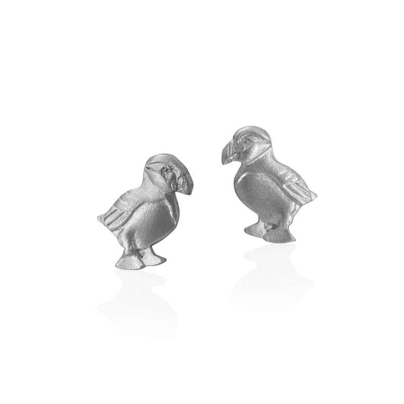 Amos Pewter Puffin Stud Earrings
