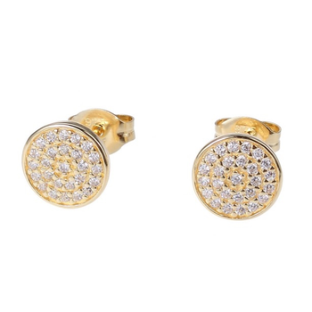 Gold Plated Micro Pave Stud Earrings