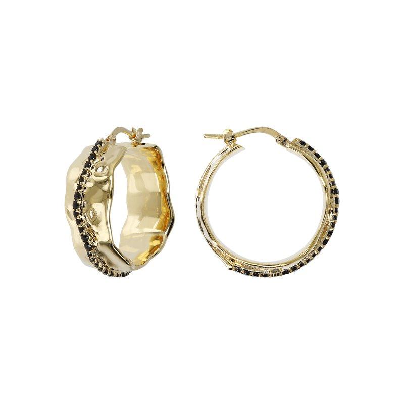 Etrusca Gioielli Black Spinel Hoop Earrings