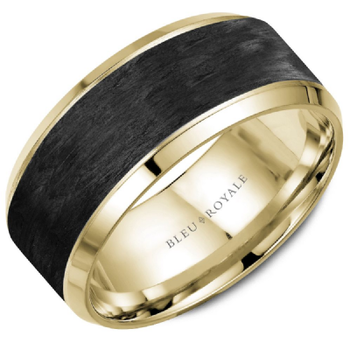 Black Carbon & Yellow Gold Wedding Band
