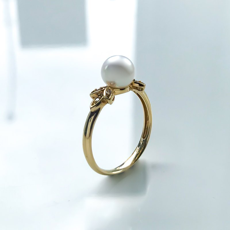 HJ Pearl Collection Yellow Gold Pearl & Diamond Ring