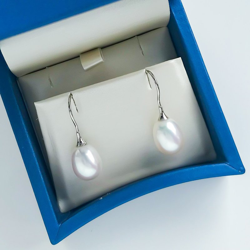 HJ Pearl Collection White Gold Freshwater Pearl Drop Earrings