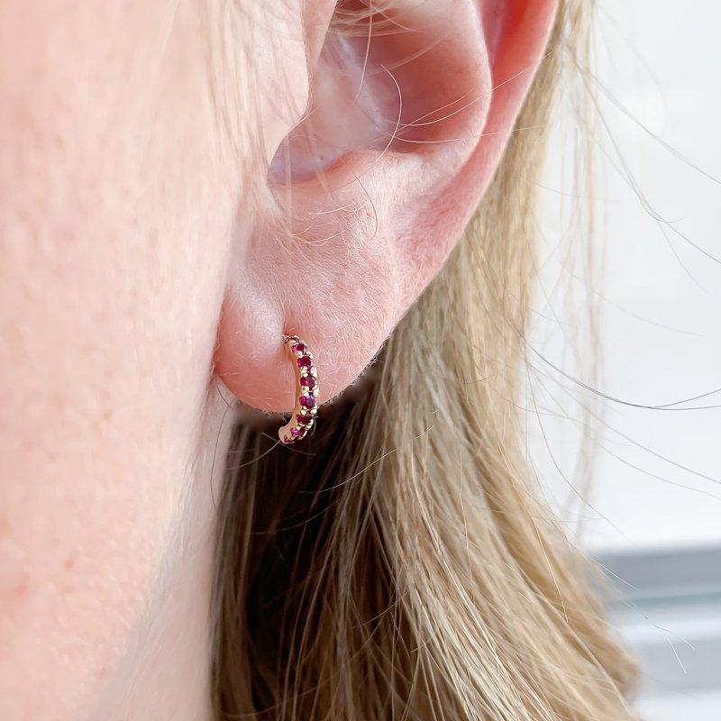 Corona Yellow Gold Half-Hoop Ruby Earrings