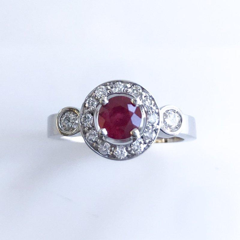 HJ Gemstone Collection Custom Ruby & Diamond Ring