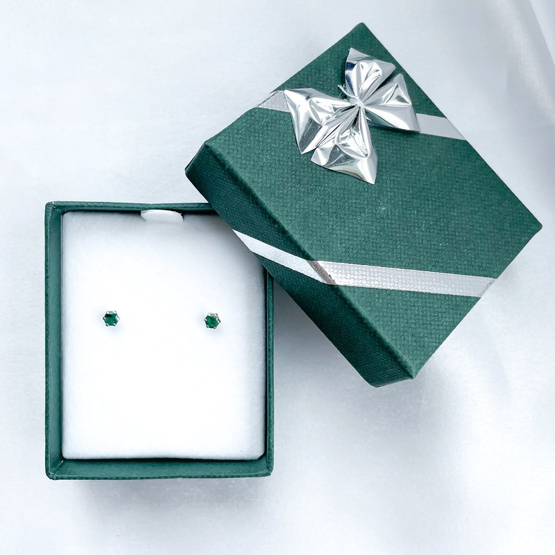 HJ Gemstone Collection Stainless Steel Emerald Stud Earrings