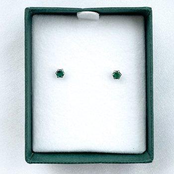 Stainless Steel Emerald Stud Earrings