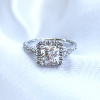 1.00CT Ideal Square Canadian Diamond Halo Engagement Ring