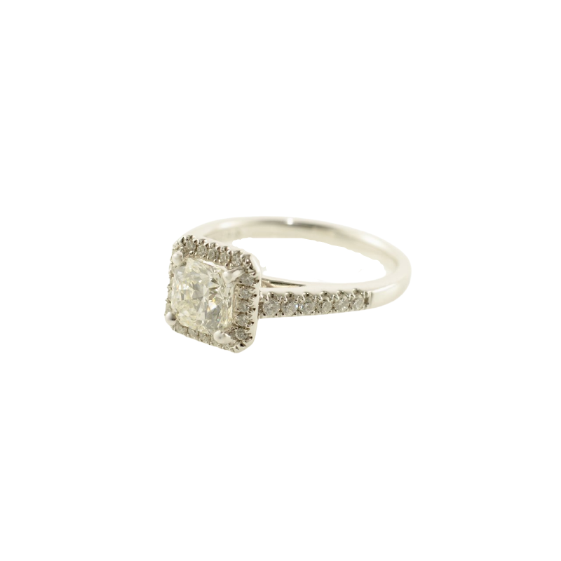 HJ Collection 1.00CT Ideal Square Canadian Diamond Halo Engagement Ring