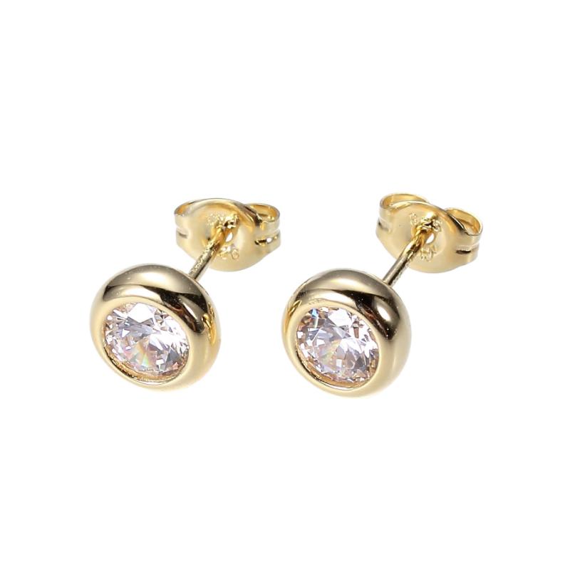 Reign Yellow Gold Plated Diamondlite Stud Earrings