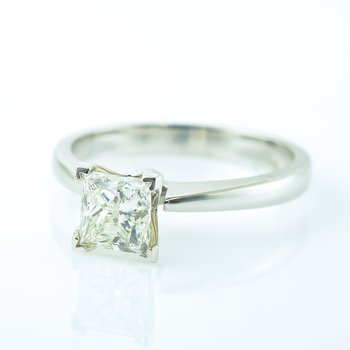 1.01CT Princess Cut Solitaire Engagement Ring