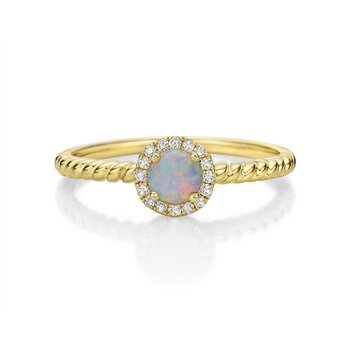 Opal & Diamond Stackable Ring