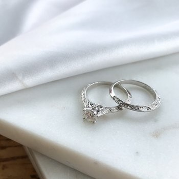 0.50CT Engraved Solitaire Engagement Ring & Wedding Band