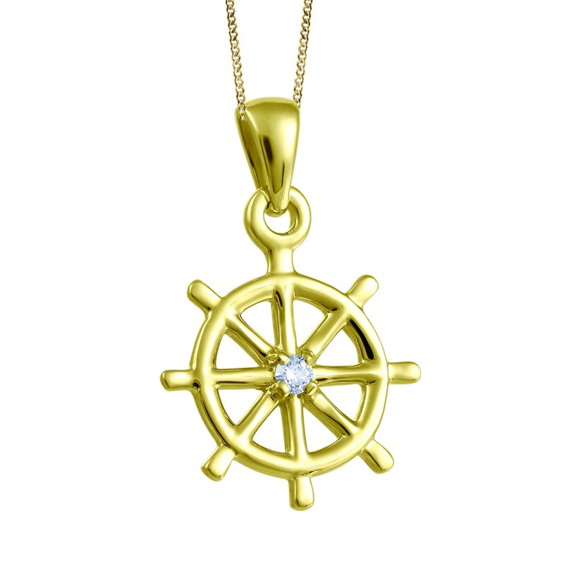 Fire and Ice Yellow Gold Ship Wheel Diamond Necklace