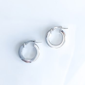White Gold Hoop Earrings (15mm)